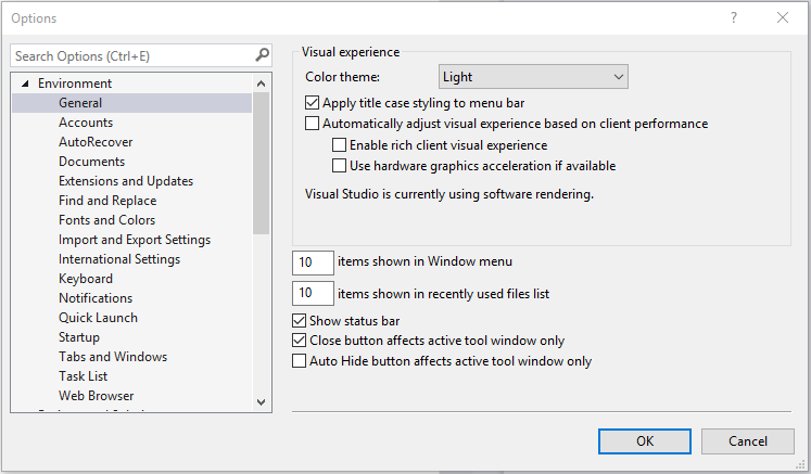 Visual Studio 2017 Community Edition screenshot of general environment options